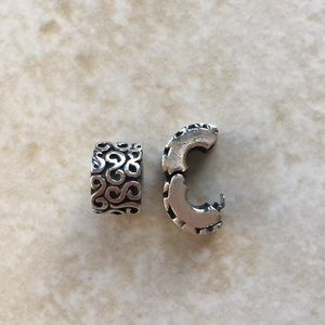 """Pandora sterling silver """"s"""" clips"""